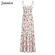 Junnior High Waist Boho Dress for Women Peplum Spaghetti Strap Summer Dresses Floral Print Dress Female Strapless Vestidos Mujer