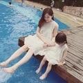 La familia a juego equipos mamá e hija vestido sin mangas del cordón del vestido de la familia ropa Dropshipping 3-8 años