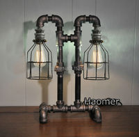 Newly Vintage LOFT industrial iron water pipe desk lamp 2 heads table lights iron cage lamp desk lights