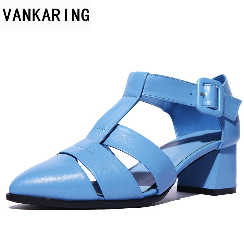 VANKARING black women square heel sandals genuine leather shoes buckle strap high heels summer fashion office dress woman shoes 2017 summer genuine leather botas mujer thigh high gladiator summer boots black color square heel big buckle strap shoes woman