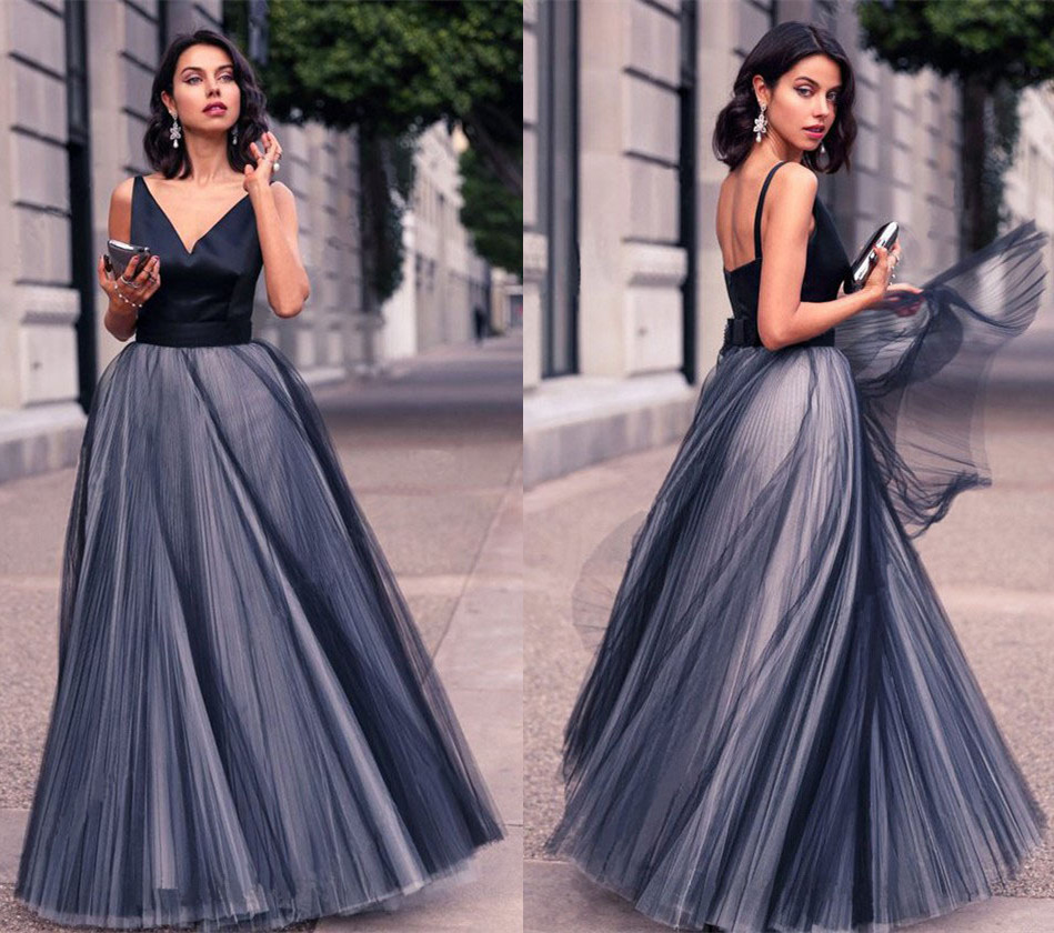 Sexy Deep V Neck Boho Long Evening Dresses Women's Sleeveless Tulle Cheap Prom Formal Party Gowns Custom Made