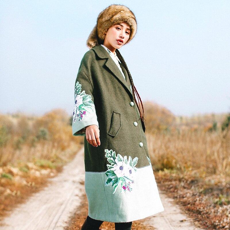 Unique Patchwork De Hiver Veste National Laine Imprimer Poitrine Femmes Casual Army Green Vintage Tendance Lâche Longue vwqxTWzUYw