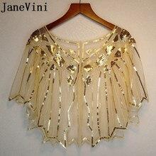 JaneVini Altın Payetli Düğün Pelerin Resmi Elbise Bolero Kısa Shrug Sarar Stoles Parlak Beyaz Kadın Şal Ceket Piumino Donna