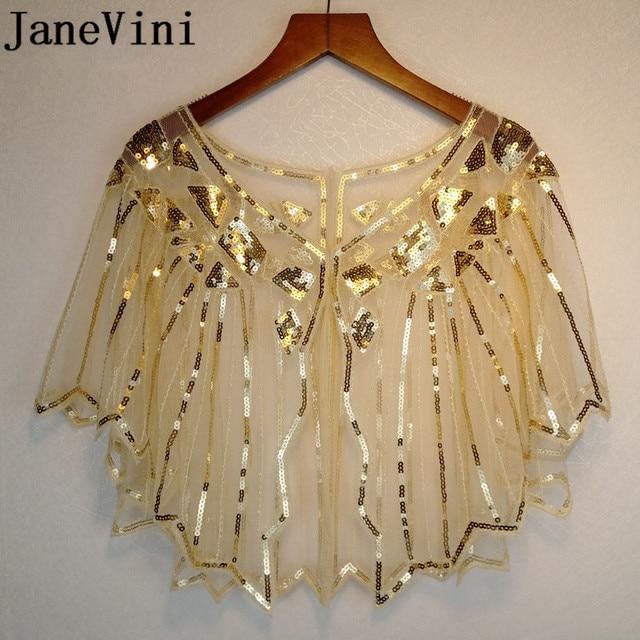 JaneVini Gold Sequined Wedding Cape Formal Dress Bolero Short Shrug Wraps Stoles Shiny White Women Shawl Jacket Piumino Donna