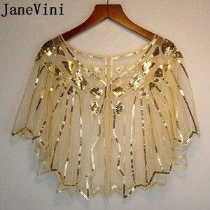 Image 1 - JaneVini זהב נצנצים חתונה לבוש הרשמית גלימת בולרו קצר משיכת הכתפיים כורכת גלימות מבריק לבן נשים צעיף Jacket Piumino דונה