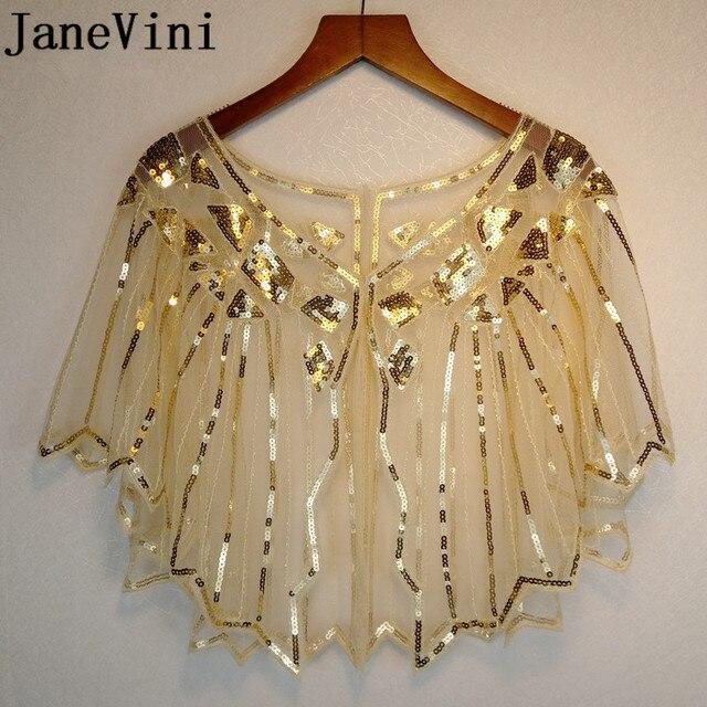 JaneVini זהב נצנצים חתונה לבוש הרשמית גלימת בולרו קצר משיכת הכתפיים כורכת גלימות מבריק לבן נשים צעיף Jacket Piumino דונה