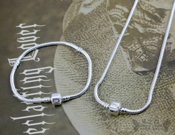 משלוח מהיר חינם סיטונאי כסף זכוכית חרוזים קסם צמיד & שרשרת לנשים למסיבת חתונה