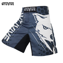 WTUVIVE MMA black and white cotton flower boxing movement training muay thai boxing short mma kickboxing Shorts Size loose sanda