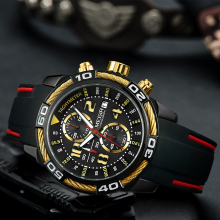 лучшая цена MEGIR Mens Watches Top Luxury Brand Waterproof Sport Wrist Watch Chronograph Quartz Military Genuine Silicone Relogio Masculino