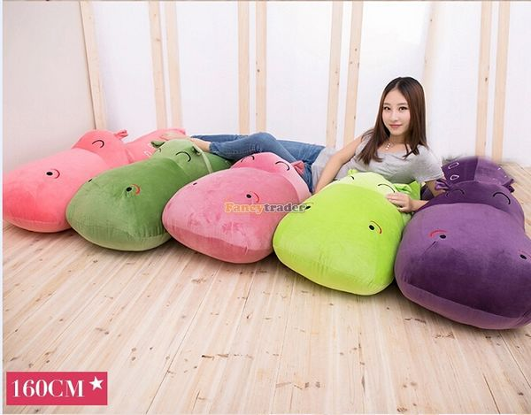 Fancytrader 63'' / 160cm Cute Jumbo Giant Plush Stuffed Hippo Toy, Nice Birthday, Gift 5 Colors Available! Free Shipping FT50043 fancytrader 2015 new 31 80cm giant stuffed plush lavender purple hippo toy nice gift for kids free shipping ft50367