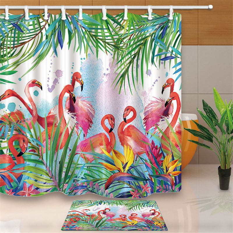 Tropical Flowers And Flamingo Bathroom Shower Curtain Waterproof Fabric & 12hook Bathroom Decor