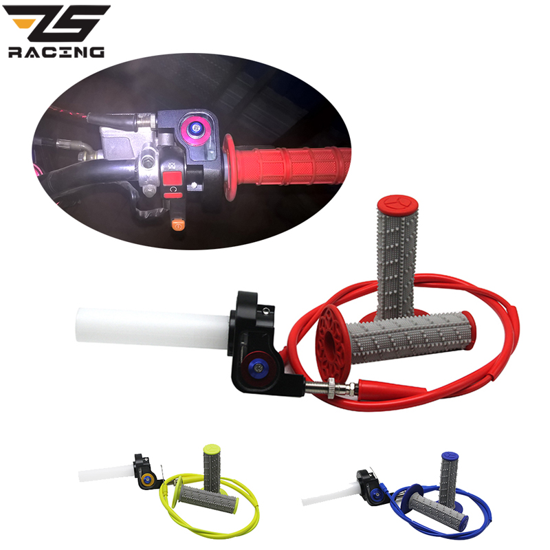 ZS Racing One Set Motorcycle Throttle Grip Quick Twist Gas Throttle Settle With Throttle Cable Fit On 7/8