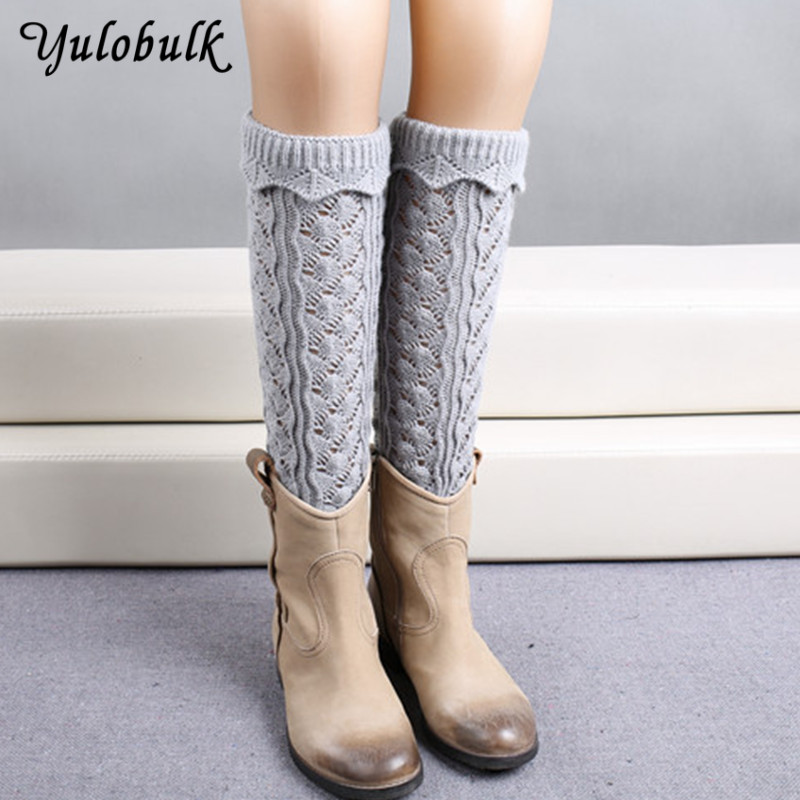 Women's Socks & Hosiery 10 Colors Knit Leg Warmers For Women Hollow Lace Boot Socks Turn-up Bottom Knee High Boot Cuffs Jacquard Weave Long Leg Gaiter Choice Materials