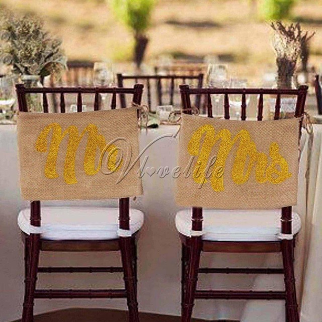 Gold Mr And Mrs Chair Sign Vintage Wedding Signs Rustic Banners Burlap