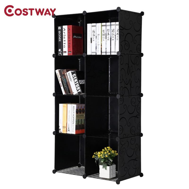 COSTWAY Simple Resin Plastic Bookshelves DIY 8-Grid Portable Bedroom ...