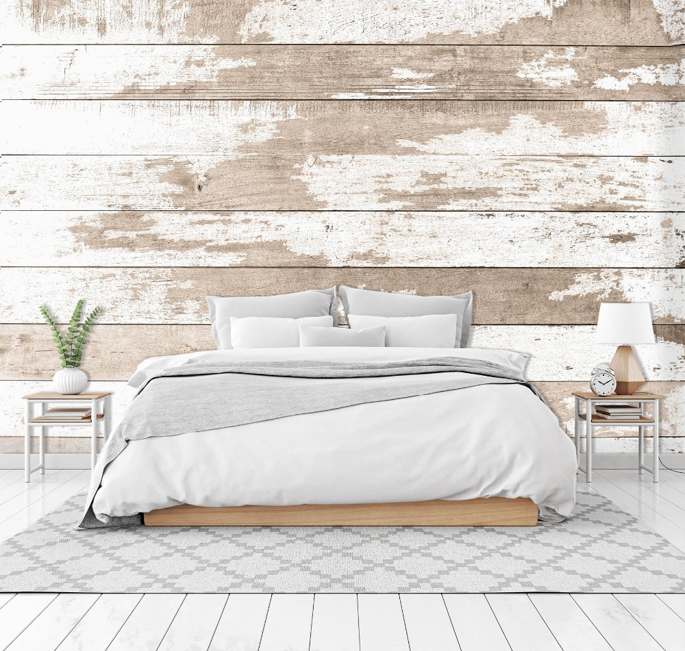 [Self-Adhesive] 3D White Paint Wood Board 66 Wall Paper Mural Wall Print Decal Wall Murals