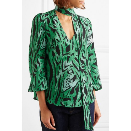 Women Shirt 2019 New Green Zebra Print Lantern Sleeve Ribbon Silk Shirt