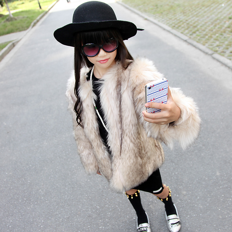 Female child fashion eco friendly stripe faux fox fur outerwear child winter wadded jacket