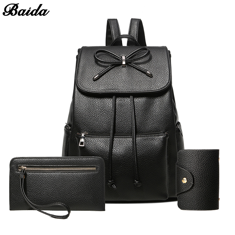 2017 NEW Vintage Women Backpack Stylish Daypack Youth Leather School Shoulder Bagpack Female Casual Lady Bag for Teenage Girls mma backpack box ing shoulder ufc memory gifts daypack for friends
