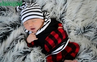 CHAMSGEND Black style Fashion 2pcs Toddler Infant Baby Boy red plaid Striped Plaid Hoodie Tops+Pants Outfits july18 P30
