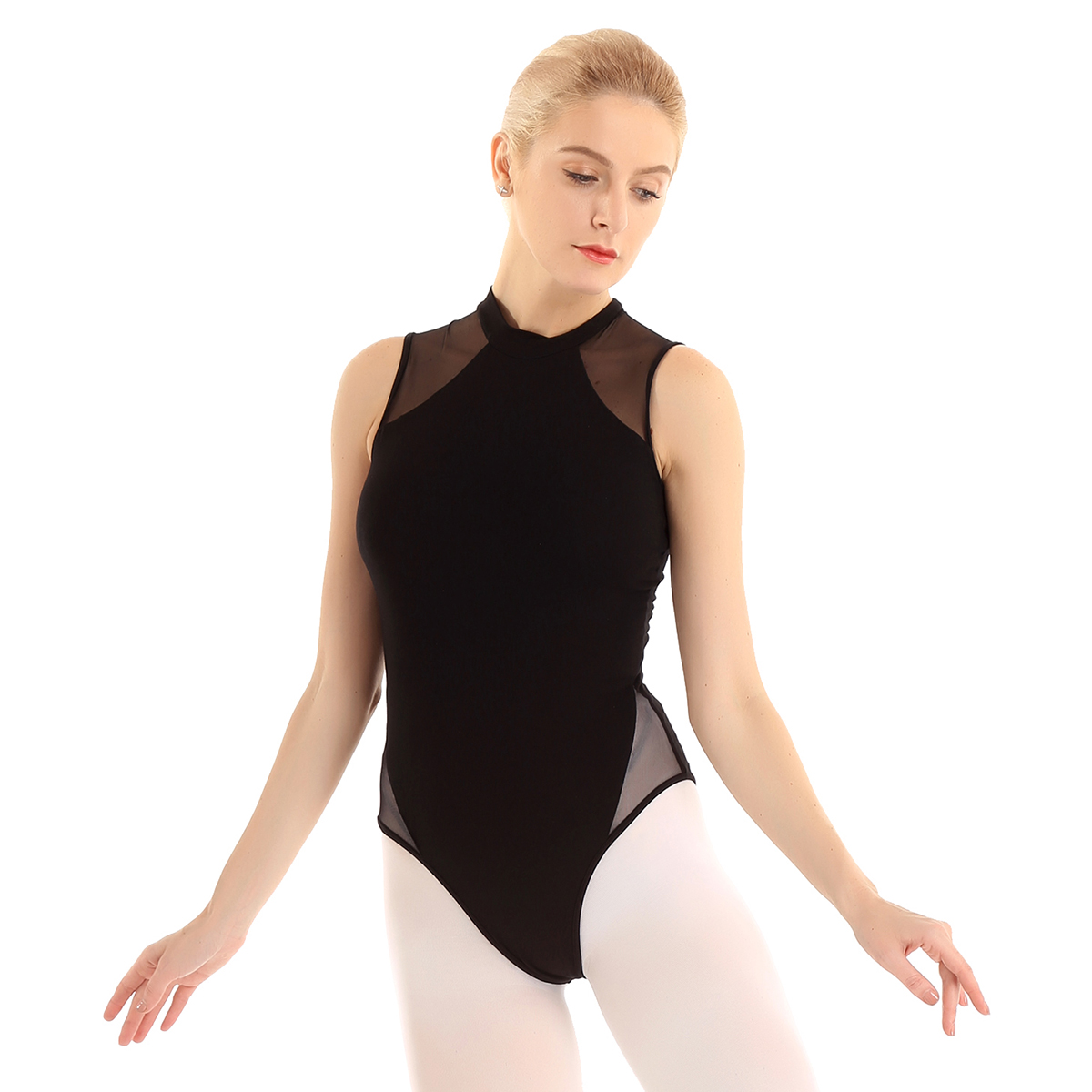 Girls Ballet Dress Gymnastics Leotards Mesh Splice Dance Wear Bodysuit Costume