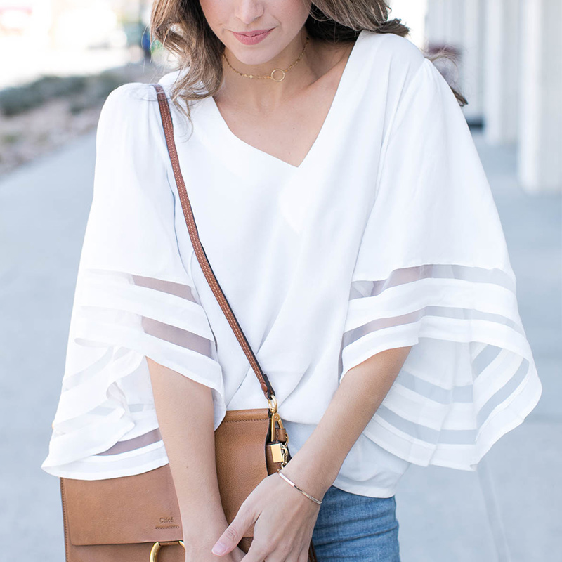 Summer Women T Shirt V Neck Solid Color Flare Sleeve Tops Mesh Patchwork Loose Casual Shirt -MX8