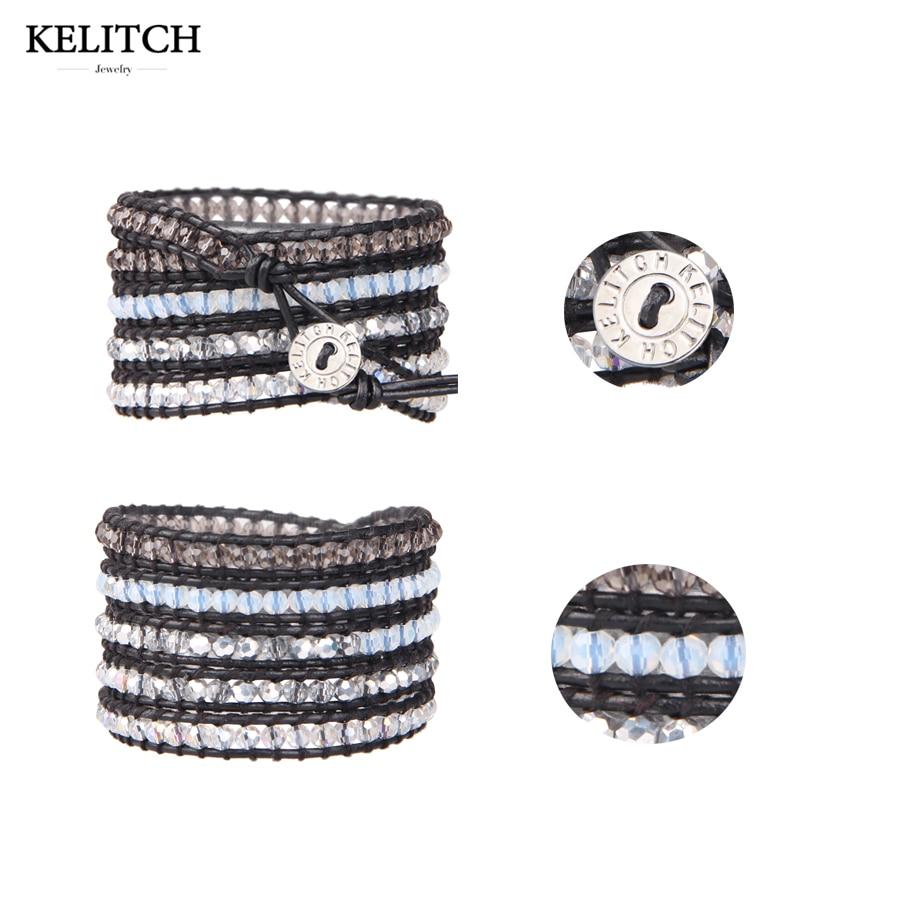 3fcf0099fca9 KELITCH joyería de China 1 piezas cuero genuino negro transparente blanco  del abrigo de cuentas Cuentas multicapas pulseras para regalos