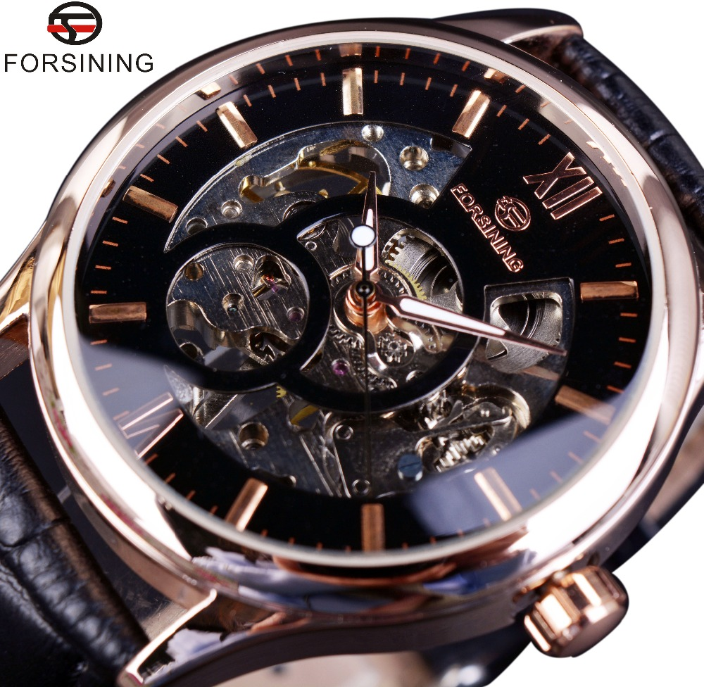 Forsining Rose Gold Case Fashion Designer Men Watch Top Brand Luxury Clock Men Mechanical Skeleton Watch