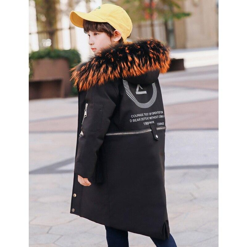 Boys Warm Winter Coat Down Jackets with big real fur hooded 6 8 10 12 14 years kids boy winter outwear