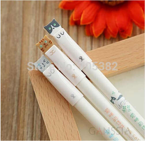 3pcs/lot Kawaii animal series gel pen Cute cat pens for Writting Office stylo Canetas school stationery supplies (ss-428)