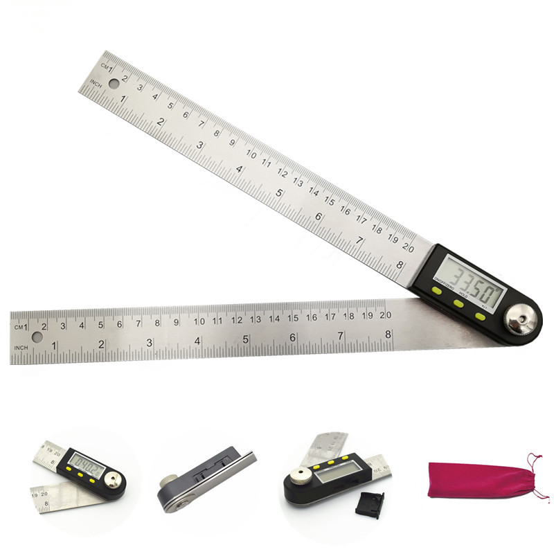 200mm Digital Protractor Inclinometer Level Measuring Tool Electronic Angle Gauge Stainless Steel Angle Ruler with Gift Bag цена