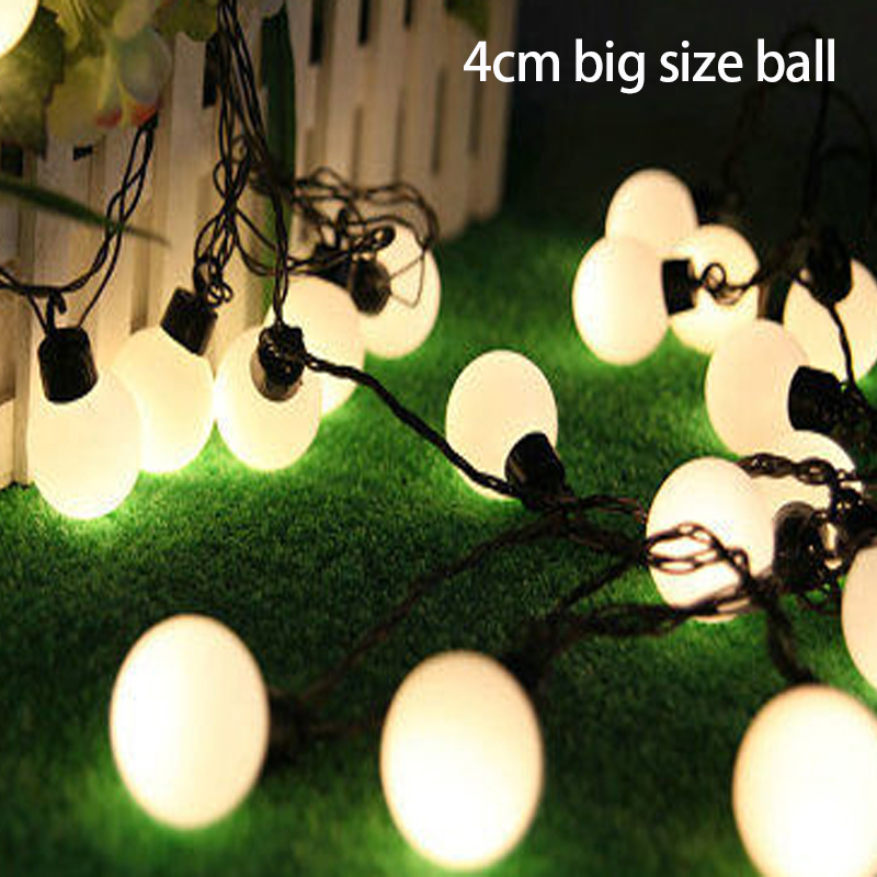 5pcs/lot Outdoor 40mm Big Size Ball Led String Light 220v/110v 5m 20leds Fairy Christmas Tree Decoration Light For Party Garden Ideal Gift For All Occasions Lighting Strings