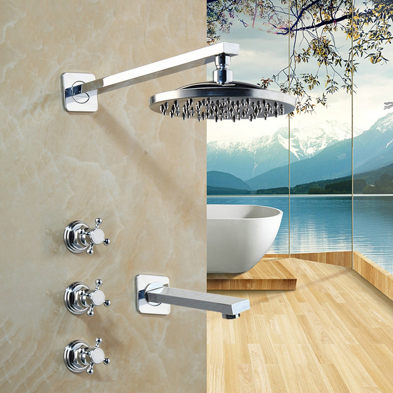 Bathroom Chrome Finished Shower Faucets Wall Mounted Shower Faucet Round Square Rainfall Shower Head Water Mixer Shower Sets