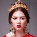 HG170 Barroco corona nupcial tiaras y coronas tiara multicolor de lujo con los pendientes de la boda accesorios de la joyería conjuntos de joyas de oro