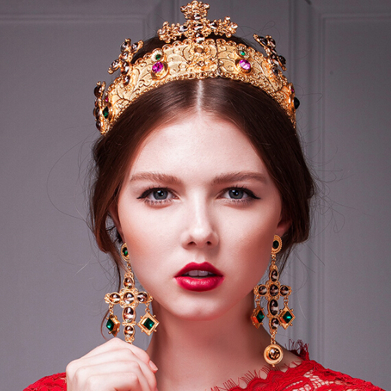 HG170 Barroco crown nupcial tiaras e coroas luxo multicolor tiara com brincos acessórios do casamento jóias conjuntos de jóias de ouro
