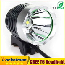 Bicycle Bike Headlight  CREE XML XM-L T6 2200LM LED DC cycling Headlamp for camping Free Shipping(8.4v battery no included) zk50