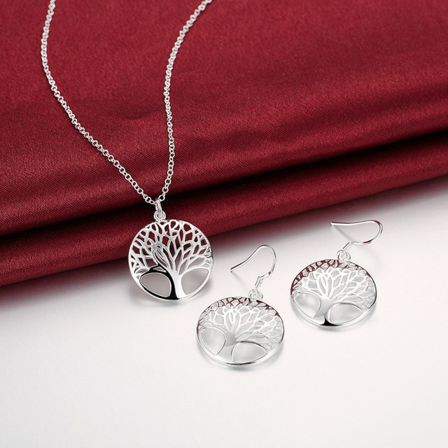 Wisdom Tree Necklace Earrings Set 925 Stamp Silver Plated Of Life Pendant And Christmas Gifts Jewelry