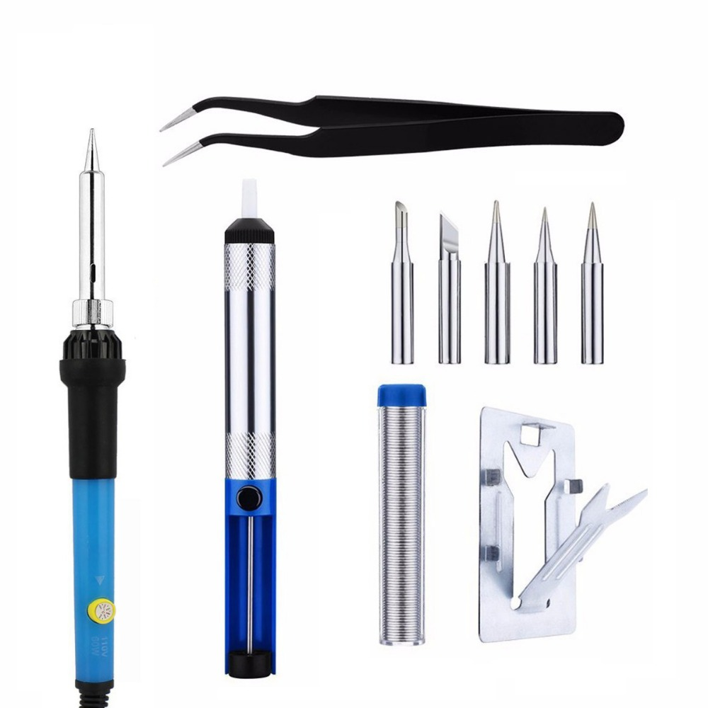 220V 60W EU plug Adjustable Temperature Electric Soldering Iron Pen Handle Repair Tool Set With 5pc Iron Tip Solder Wire Stand 220v 35w eu plug constant temperature 180c degree mini diy use electric iron 10x6x7cm