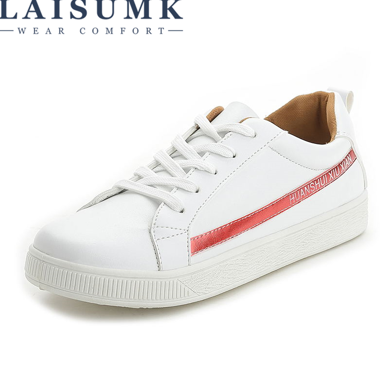 LAISUMK 2018 Women New Arrival Sneakers Spring Autumn Pu Leather Casual Shoes Lady Fashion Lace-Up Platform Shoes