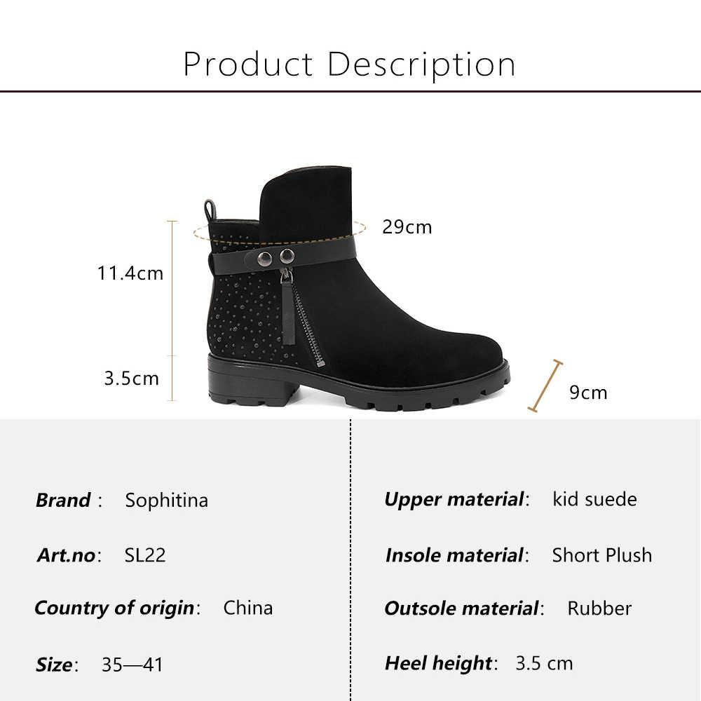 SOPHITINA kadın yarım çizmeler yuvarlak ayak çocuk süet deri ayakkabı moda kayış düşük kare topuklu fermuar kadın sondaj botları SL22