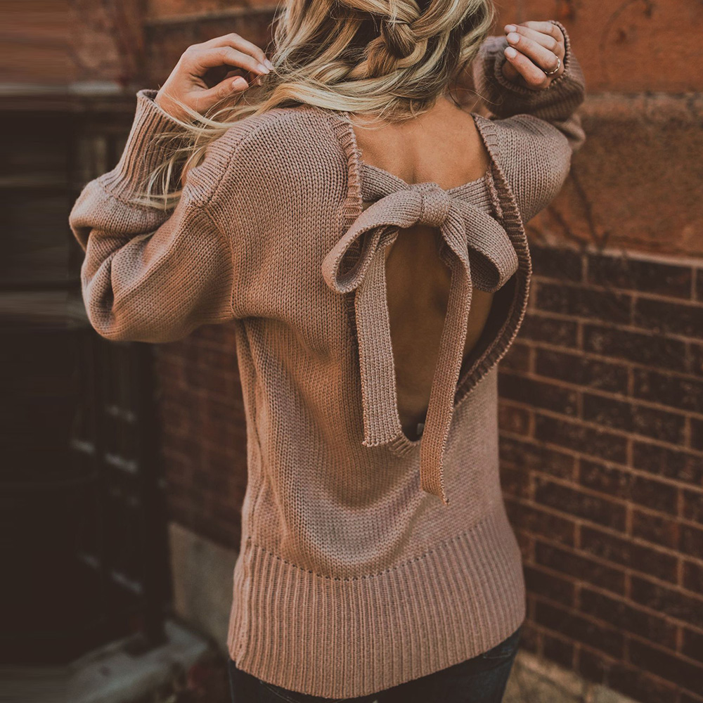 Women oversize casual jumper sweater knitwear pullover plus size backless bowknot solid sweater round neck lady women sweater