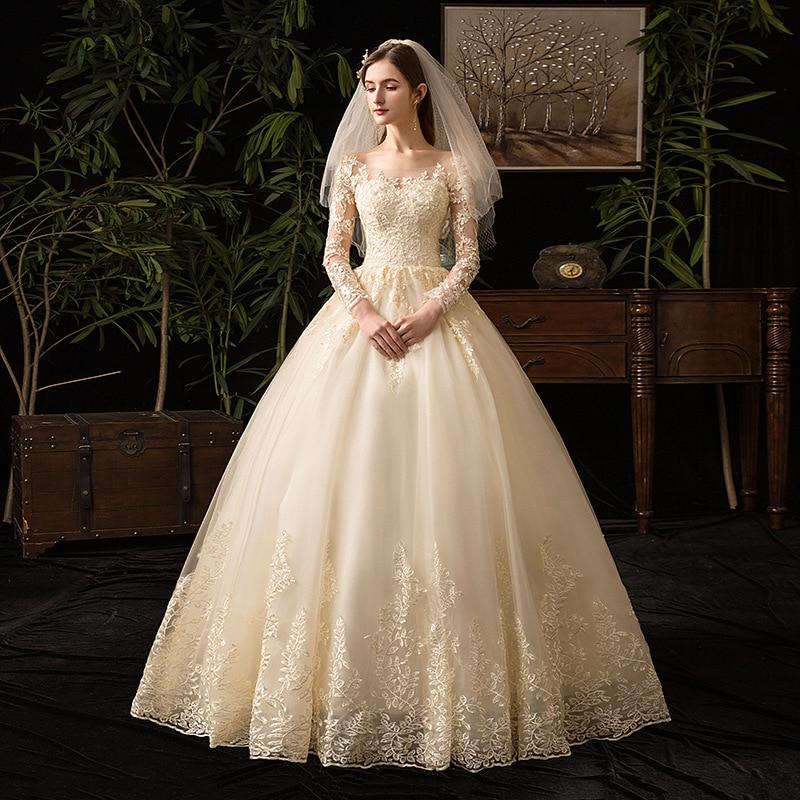 Champagne o pescoço manga cheia 2019 novo vestido de casamento ilusão rendas bordado simples feito sob encomenda vestido de noiva l