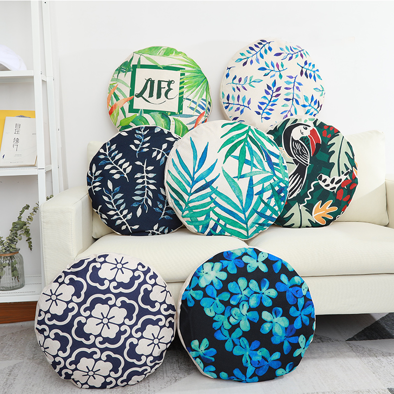 New Round Cotton And Linen Futon Cushion Cove Sofa Pillow Cushion Car Office Bedside Pillow Backrest Diameter 45*45cm Almofada