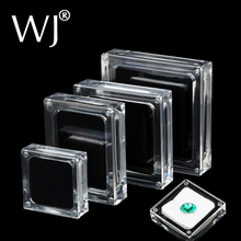 Acrylic Glass Top Gem Box White & Black Showcase Gemstone Casket Diamond Display Stand Holder Necklace Storage Organizer Case