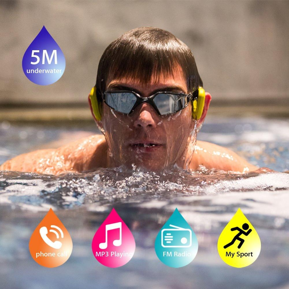 Tayogo IPX8 Bluetooth Bone Conduction Headphone With Pedometer FM Radio Underwater 100% Waterproof MP3 Music Player For Swimming