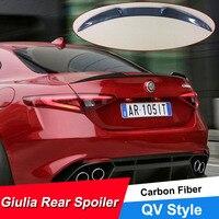 JNCFORURC For Alfa Romeo Giulia Spoiler Carbon Fiber Rear Trunk Spoiler Black Finish Quadrifoglio Verde QV Style 2015 16 17 18