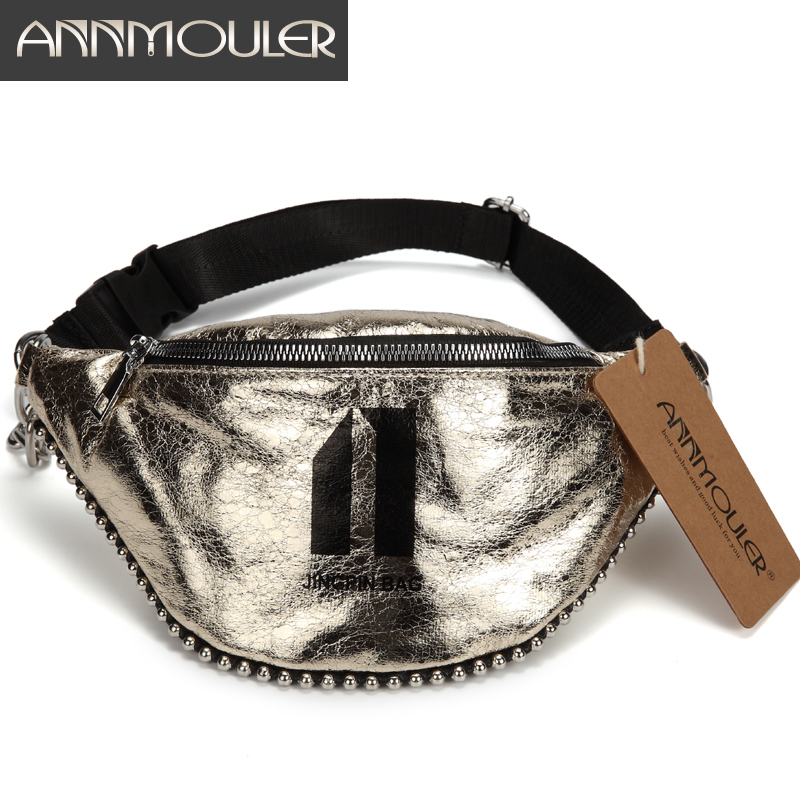 Annmouler Fashion Women Chest Bag Large Pu Leather Waist Belt Bag Chain Fanny Pack 3 Colors Waist Phone Pack With Beads