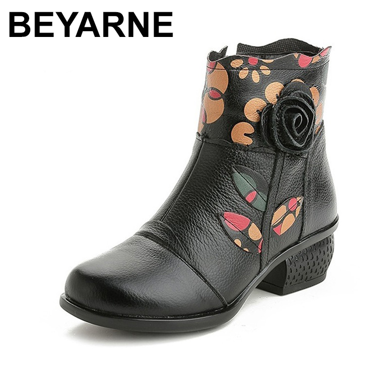 все цены на BEYARNE Genuine Leather Women Boots Fashion Thick Heel Ankle Boots Women Winter Warm Shoes Vintage Round Toe Women Snow Boots онлайн
