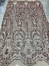 5y nigeria lace fabric 2019 sequin fashion Beaded appliqued for wedding dresses sx199