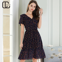 2018 Summer Chiffon Print Women S Elegant Dresses Ruffles Short Sleeve Casual Plus Size Ladies V
